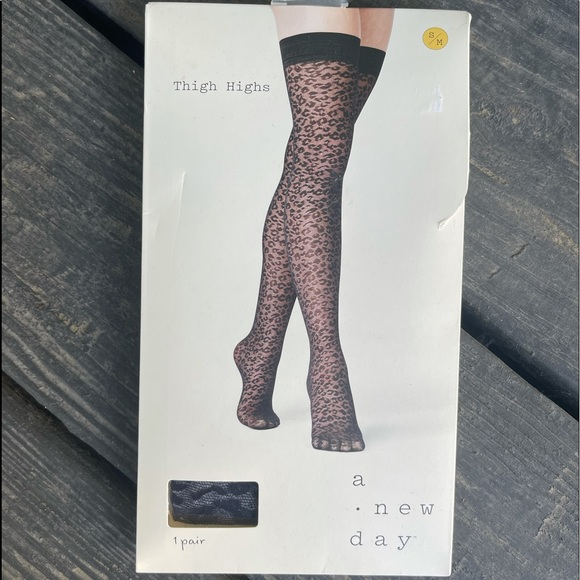 Leopard Panty Hose Hosiery Thigh High Black S/M